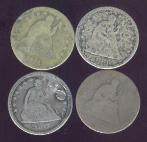 4 LOW GRADE OR CULL 90  SILVER SEATED LIBERTY QUARTERS 1853 O   1891  FREE SHIP
