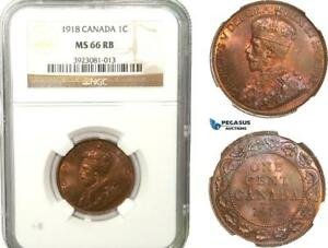 Click now to see the BUY IT NOW Price! AB249 CANADA GEORGE V 1 CENT 1918 NGC MS66RB  GRADE