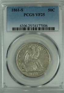 1861 S SEATED HALF DOLLAR  PCGS VF25  50C  US COIN LOT 7684