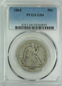 1864 SEATED HALF DOLLAR  PCGS G4  50C  US COIN LOT 7679