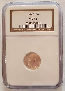 USA 1947 S ROOSEVELT SILVER  DIME   10 CENTS NGC MS64