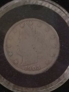 1903 CIRCULATED LIBERTY V NICKEL COIN IN AIR TITE HOLDER