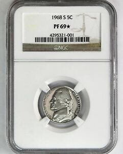 1968 S PROOF JEFFERSON NGC PF 69 STAR EXCEPTIONAL EYE APPEAL