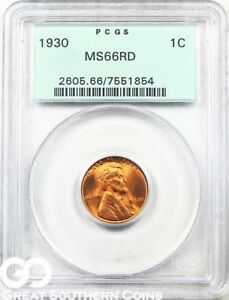 1930 PCGS LINCOLN CENT WHEAT PENNY RED PCGS MS 66 RD    OLD GREEN HOLDER PQ