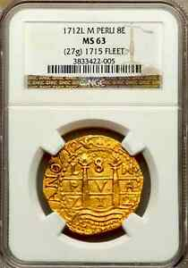 Click now to see the BUY IT NOW Price! PERU 1712 GOLD 8 ESCUDOS DOUBLOON COIN NGC 63 FIN KN  1715 PLATE FLEET SHIPWRECK
