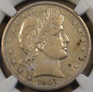 1903 O BARBER HALF DOLLAR NGC XF45 AU BUT NETTED FOR OBV. SPOTS?
