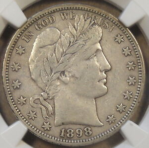 1898 S BARBER HALF DOLLAR NGC VF 35