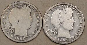 BARBER QUARTERS 1892 G AND 1894 VG