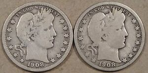 BARBER QUARTERS 1908 D VG  AND 1908 O VG