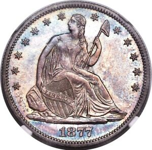 Click now to see the BUY IT NOW Price! 1877 LIBERTY SEATED HALF DOLLAR 50C NGC PF66 PR66 TONED POP  4/0  PG   $9 000
