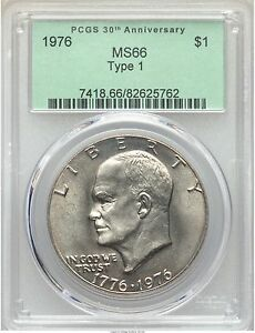 Click now to see the BUY IT NOW Price! 1976 EISENHOWER IKE DOLLAR TYPE 1 ONE $1 PCGS MS66 PRICE GUIDE   $4 500