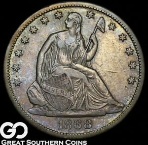 1868 S SEATED LIBERTY HALF DOLLAR CHOICE XF  /AU BETTER DATE SILVER HALF