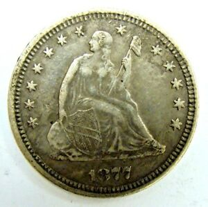 1877 XF  LIBERTY SEATED QUARTER NEVER CLEANED ORIGINAL