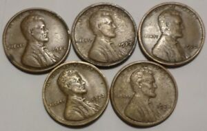 LOT OF 5 1922 D LINCOLN CENTS VF XF BETTER GRADE KEY DATE LOT COMBINED SHIPPING