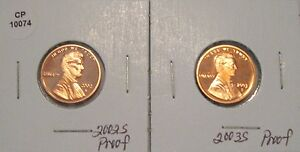 2002 AND 2003 PROOF LINCOLN PENNIES CENTS CP10074