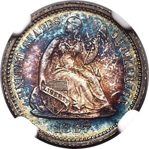 1867 H10C SEATED LIBERTY HALF DIME NGC PF67 PR67 RAINBOW TONED PG   $4 500