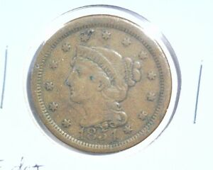 1854 BRAIDED HAIR LIBERTY HEAD LARGE CENT FINE DETAILS GOUGE ON OBVERSE