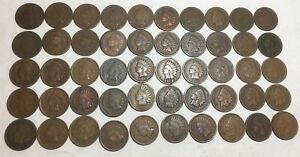 INDIAN HEAD LOT  OF 50  PENNY/CENT   1884 1907   SEE PICS FOR DETAILS & DATES  D