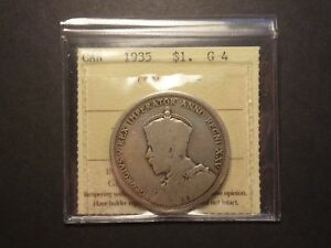 Click now to see the BUY IT NOW Price! LOWBALL   1935 CANADA SILVER DOLLAR POCKET PIECE LUCKY COIN ICCS G 4