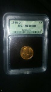 Click now to see the BUY IT NOW Price! 1938 D ICG MS68RD RED LINCOLN WHEAT CENT