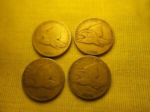 4 FLYING EAGLE CENTS 3X 1858 L.L. AND 1 1857