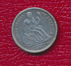 1883 SEATED LIBERTY SILVER DIME   NICELY TONED