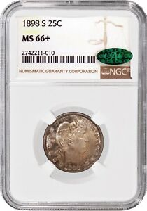 Click now to see the BUY IT NOW Price! 1898 S 25C SILVER BARBER QUARTER NGC MS66  CAC POP 1