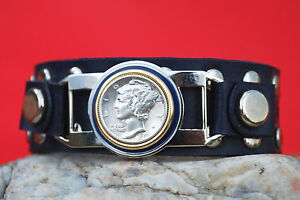 1940 MERCURY DIME SILVER COIN GENUINE LEATHER STUDDED BRACELET NEW BLUE ENAMEL