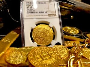 Click now to see the BUY IT NOW Price! MEXICO 1714 8 ESCUDOS NGC 64 FLEET SHIPWRECK GOLD TREASURE PIRATE COB COIN