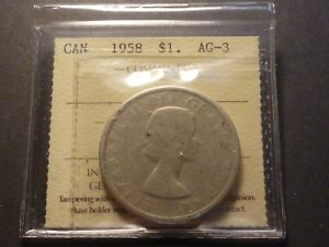 Click now to see the BUY IT NOW Price! LOWBALL   1958 CANADA SILVER DOLLAR POCKET PIECE LUCKY COIN ICCS AG 3