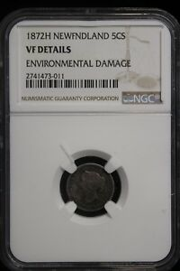 Click now to see the BUY IT NOW Price! 1872 H CANADA / NEWFOUNDLAND. 5 CENTS. NGC GRADED VF.