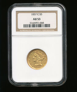 1857 C CHARLOTTE FIVE DOLLAR GOLD HALF EAGLE $5 GOLD NGC AU 53 TYPE 1 NO MOTTO