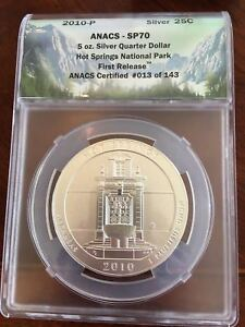 Click now to see the BUY IT NOW Price! 2011 HOT SPRINGS NATIONAL PARK 5 OZ SILVER QUARTER ANACS SP70 FIRST RELEASE .999