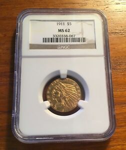 1911 $5 GOLD INDIAN HALF EAGLE NGC MS 62