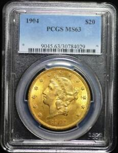 1904 LIBERTY MS 63 PCGS $20.00 GOLD DOUBLE EAGLE      SG3