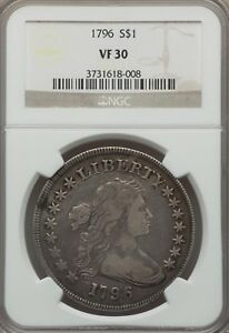 1796 $1 EARLY DOLLAR DRAPED BUST VF30 NGC   LG DATE SM LETTERS B 5 BB 65