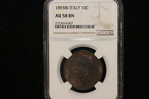 Click now to see the BUY IT NOW Price! 1893 B/I ITALY. 10 CENTISIMI. NGC GRADED AU 58 BN.
