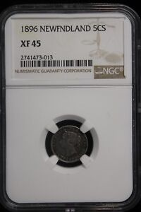 Click now to see the BUY IT NOW Price! 1896 CANADA / NEWFOUNDLAND. 5 CENTS. NGC GRADED XF 45.