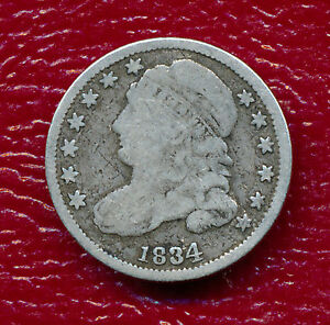 1834 CAPPED BUST SILVER DIME   CIRCULATED   NICE