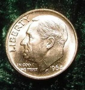 1964 ROOSEVELT DIME MS MINT STATE 10 LAST YEAR SILVER COIN