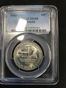 Click now to see the BUY IT NOW Price! 1936 PCGS WISCONSIN COMMEMORATVE MS 68 $.50 COIN