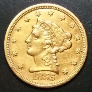 GOLD 1855 $2.50 INDIAN HEAD COIN   HIGH GRADE   GREAT GRADUATION OR WEDDING GIFT