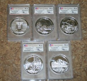 Click now to see the BUY IT NOW Price! 5 COIN SET ATB NP 2010 5OZ SILVER PCGS MS69  4DMPL 1PL  FIRST STRIKE MERCANTI