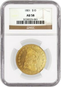 1801 $10 CAPPED DRAPED BUST RIGHT EAGLE GOLD NGC AU58