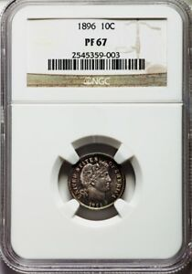 Click now to see the BUY IT NOW Price! 1896 BARBER DIME 10C NGC PR67 PF67 NONE NUMERICALLY FINER PG   $4 200