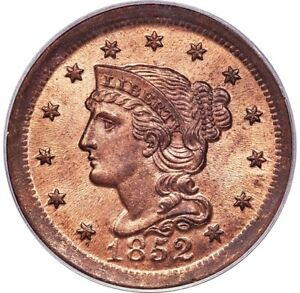 Click now to see the BUY IT NOW Price! 1852 BRAIDED HAIR LARGE CENT 1C N 22 N 9 PCGS MS65 RD RED OGH PG   $6 500