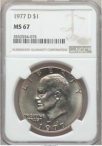 Click now to see the BUY IT NOW Price! 1977 D EISENHOWER IKE DOLLAR NGC MS67 POP 8/0 PRICE GUIDE   $6 500