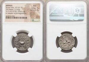Click now to see the BUY IT NOW Price! JUDAEA. THE JEWISH WAR  AD 66 70 . AR SHEKEL  23MM 13.69 GM 12H . NGC AU