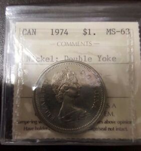 Click now to see the BUY IT NOW Price! 1974 CANADA ELIZABETH II NICKEL DOLLAR ICCS  DOUBLE YOKE NICE