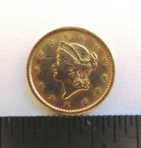 1852 GOLD UNITED STATES LIBERTY HEAD $ 1 DOLLAR COIN  TYPE 1